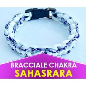 """Bracciale Chakra BIANCO/VIOLETTO """"Sahasrara"""" in Paracord (Spedizione Gratuita)"""