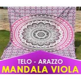 TELO SPIRITUALE MANDALA VIOLA -  ARAZZO, COPRILETTO, YOGA (SPEDIZIONE GRATUITA)