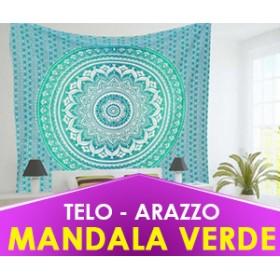 TELO SPIRITUALE MANDALA VERDE - ARAZZO, COPRILETTO, TAPPETO YOGA (SPEDIZIONE GRATUITA)