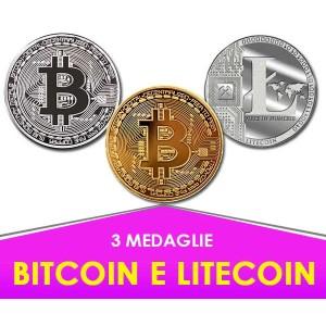 3 Medaglie Bitcoin - Litecoin